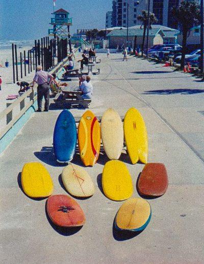 boards on sidewalk